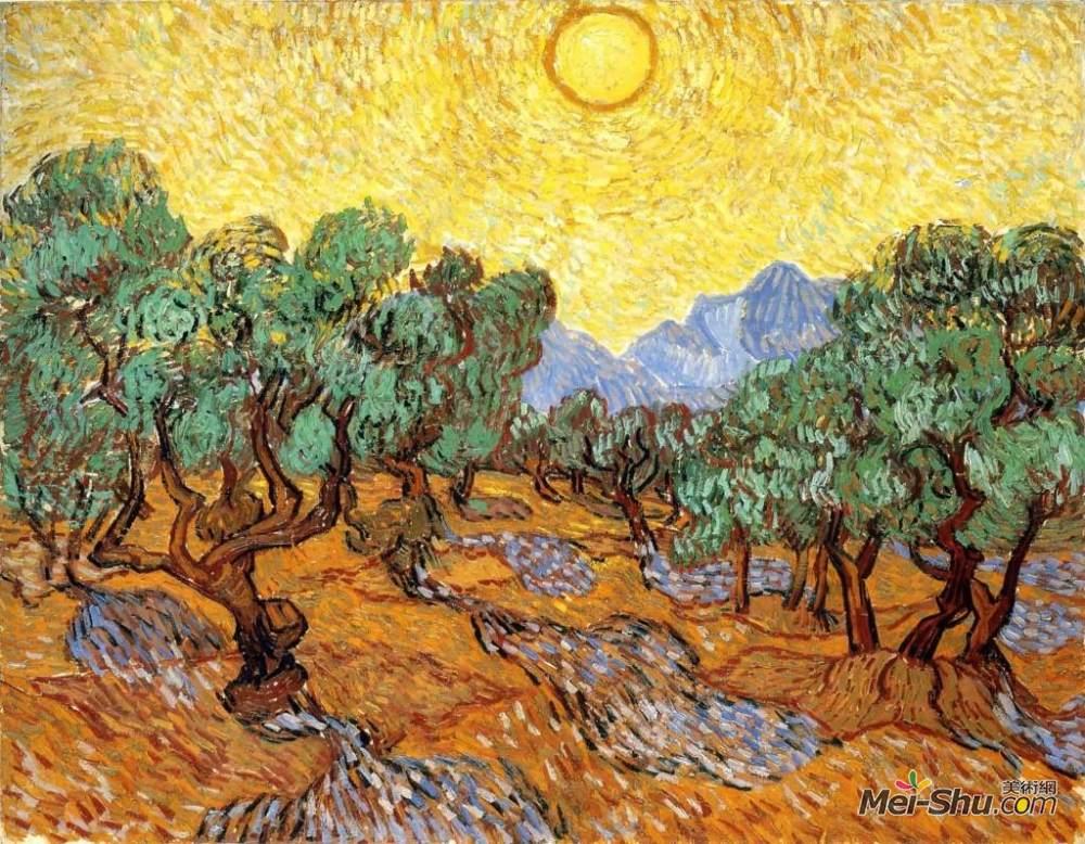 梵高作品《>有黄色的天空和太阳的橄榄树》