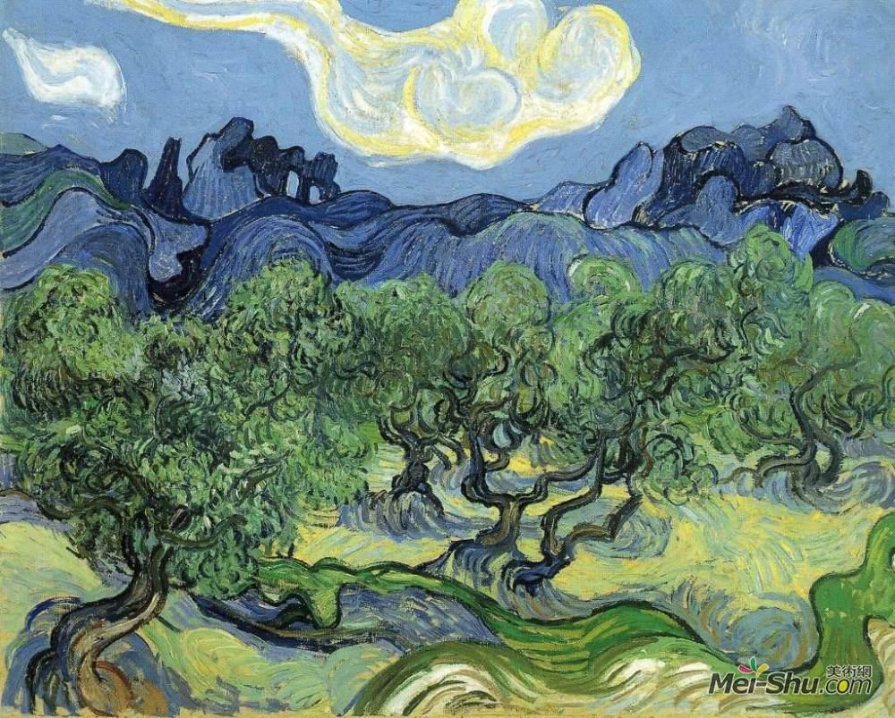 梵高作品《阿尔皮依的橄榄树榄树》