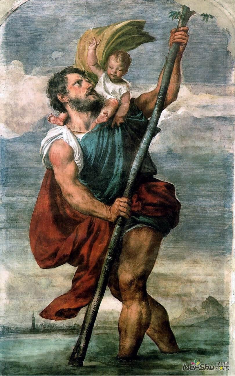 提香Titian作品 圣克里斯多夫﹝Saint Christopher﹞