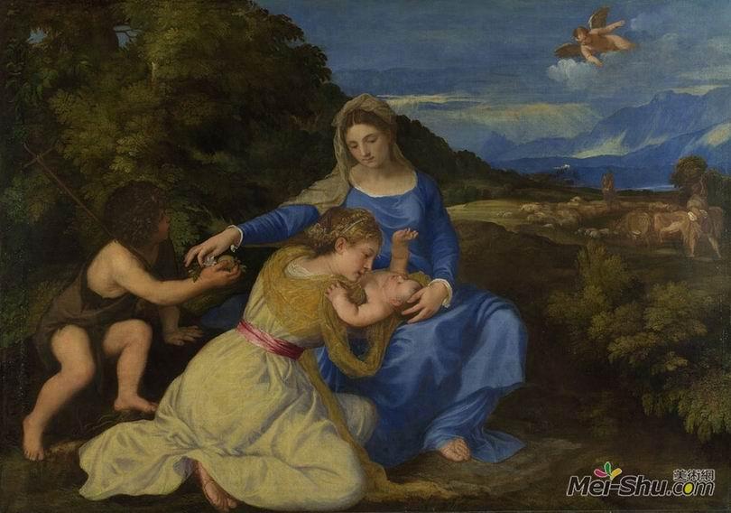 提香Titian作品 圣母子 幼年圣约翰及女圣徒 (阿尔多不兰迪尼圣母)