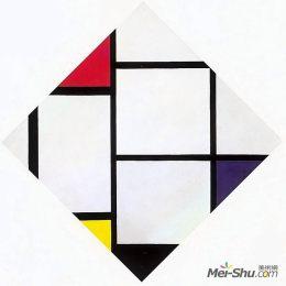 皮特·蒙德里安高清作品《紅、白、藍的菱形畫》