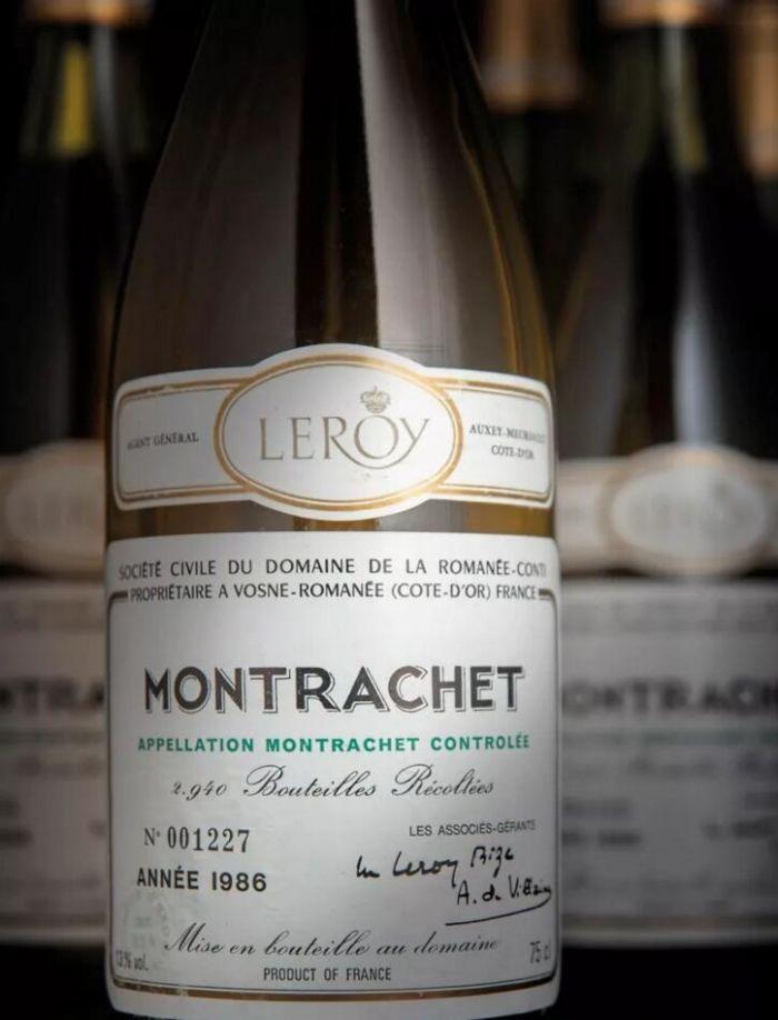 1986年罗曼尼‧康帝酒庄蒙哈榭,12瓶。2018年11月28至29日在佳士得伦敦以96,000英镑拍出