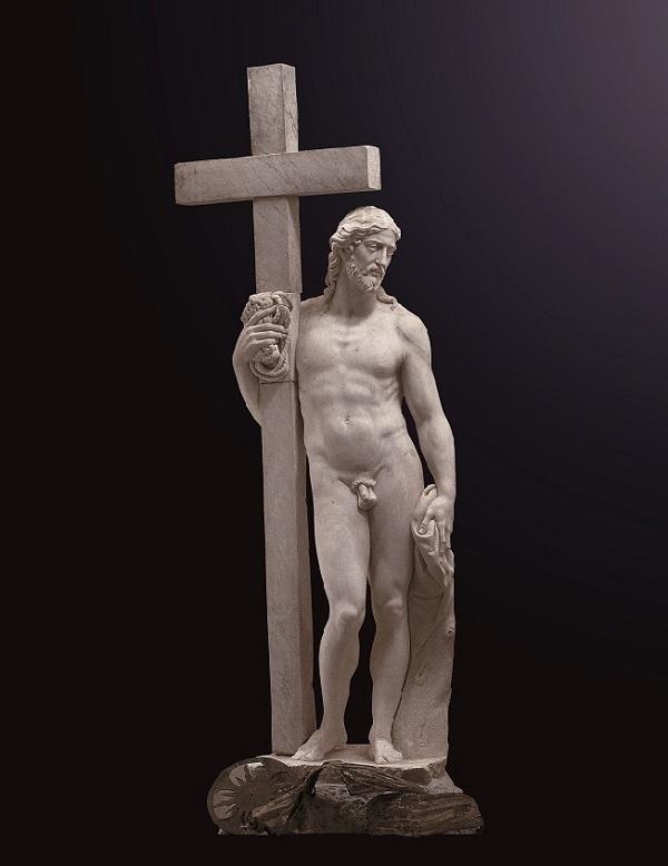 《倚靠十字架的基督》米开朗基罗·博纳罗蒂,约1514—1516年,大理石,圣文森佐修道院藏。
