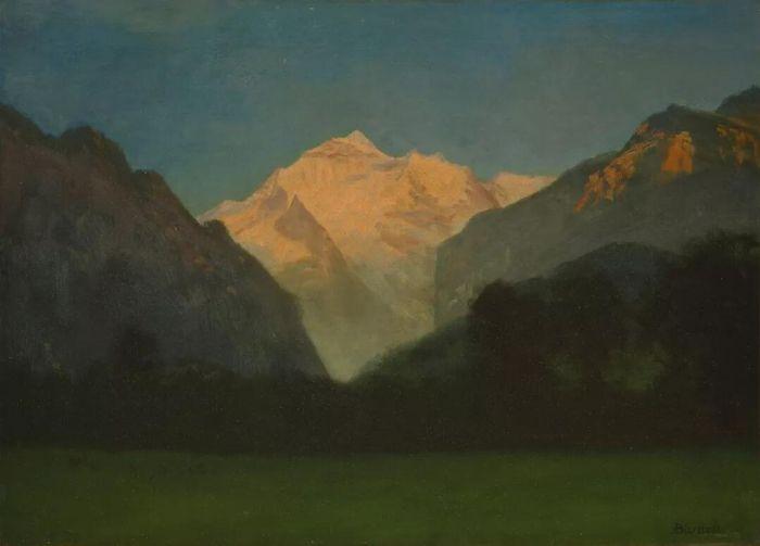 阿尔伯特·比尔施塔特,《冰川公园风景或山顶日落》,日期不明,图片来自维基共享资源