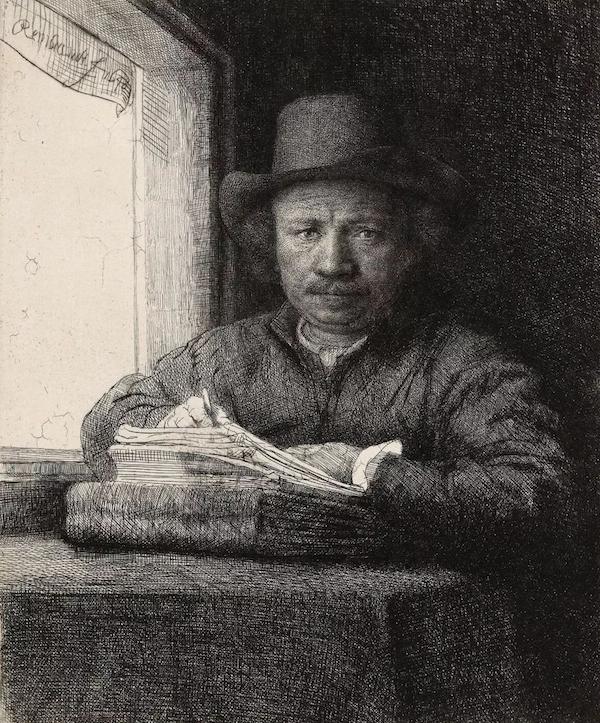 伦勃朗·范·莱因 《窗前的版画自画像》,蚀刻版画,1648