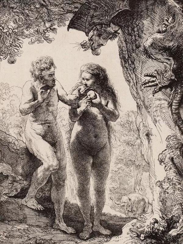 伦勃朗·范·莱因《亚当与夏娃》,蚀刻版画,1638