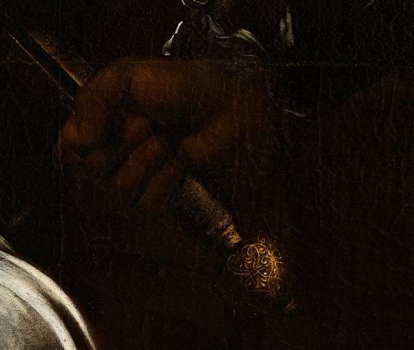 新发现的油画《朱迪斯与赫尔弗尼斯》(局部)