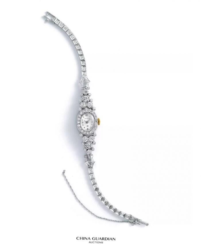 14K白金女款手动上弦镶钻腕表