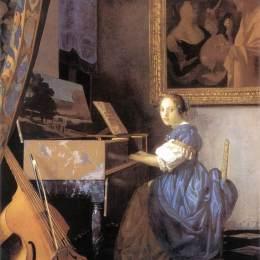 维米尔高清作品《维金纳琴旁的年轻女子》