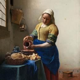 油畫倒牛奶的女仆和戴紅帽的女孩反應維米爾的作品風格