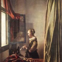 维米尔高清作品《窗前读信的女孩》